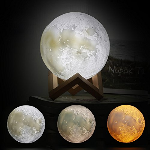 BEACON PET Moon Lamp, USB Charging 3D Touch Sensor LED Bedroom Night Light, Festival Decorative lamp &Table Desk Lamp Great as a Gift for Birthday and Christmas with Wooden Base - 5.9inch (Lamps Bedroom Discount)