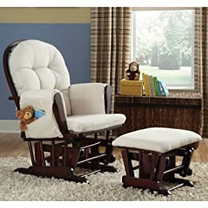 Storkcraft - Beige Bowback Glider Rocker and Ottoman Beige Cushions Espresso Finish
