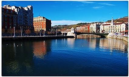 España casas ríos puentes agua Bilbao ciudades sitios de viajes postal Post tarjeta: Amazon.es: Oficina y papelería
