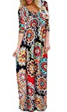 BLUETIME Womens 3/4 Sleeve Bohemian Floral Empire Waist Flowy Maxi Long Dresses with Pockets