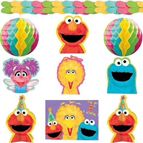 Amscan Sesame Street 1st Birthday Decorating Kit, Large, Red/Pink/Blue/Yellow/Green -