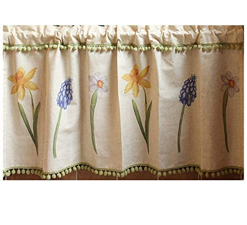 Azerlee Garden Tailored Valance Kitchen Curtain Floral Draperies Linen Curtain - Valance Tailored Garden