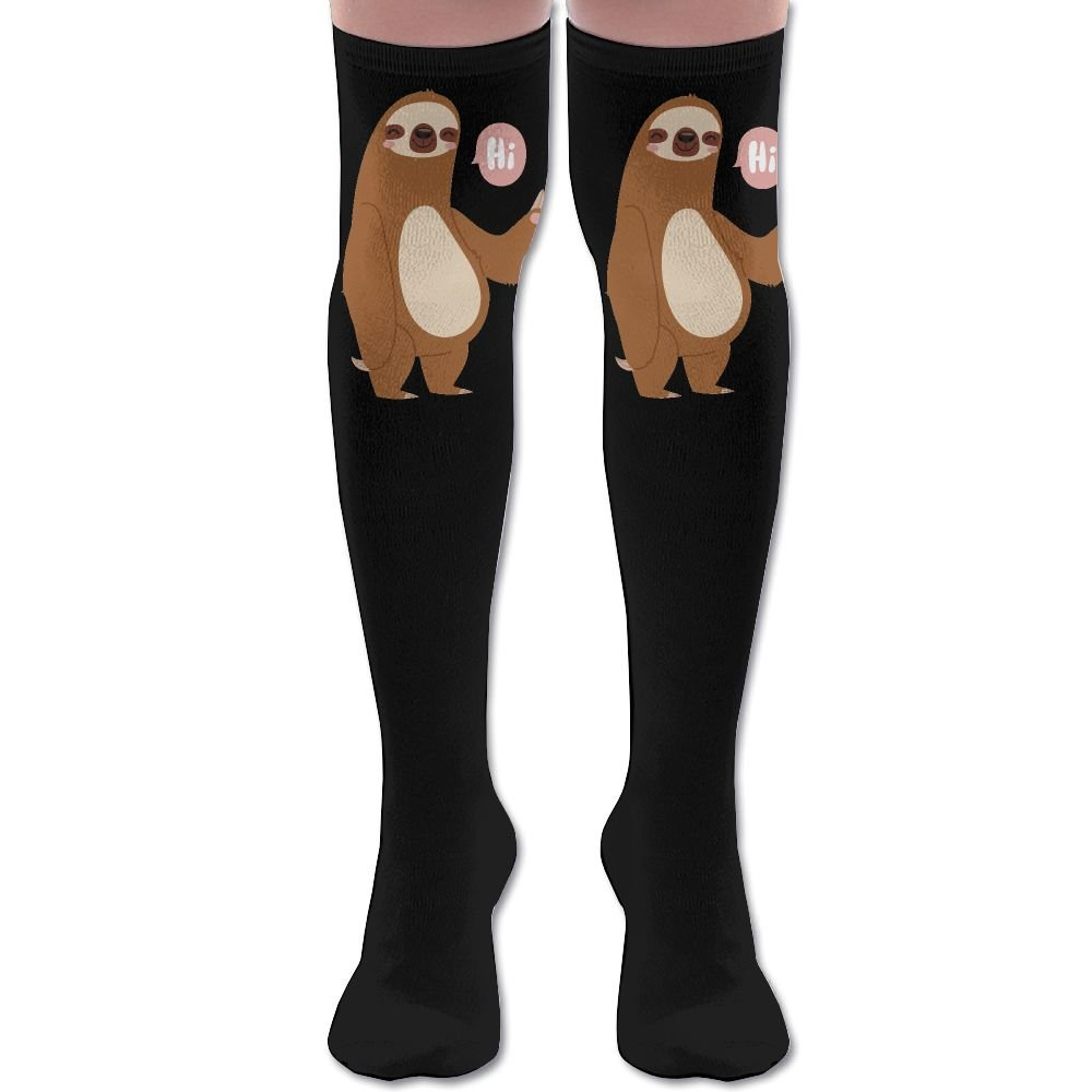 Magic Sloth Say HI Women's Thigh High Socks Over Knee High Socks Leg Warmer Sexy Stockings