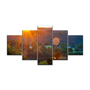 Skipvelo Arkansas Sunset Sunrise Sunrays Eureka Springs Nature hot Springs Wall Art Canvas Prints Pictures Paintings Artwork Home Decor Stretched and Framed - 5 Pieces