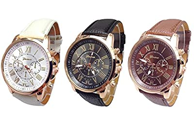 Mixeshop 3-pack Unisex Tally Style Silicone Watch black&white&brown