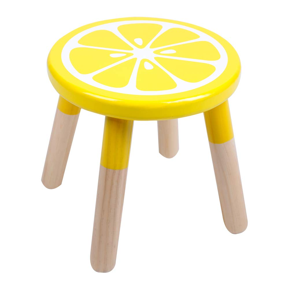 RUYU 9 Inch Kids Solid Hard Wood Fruit Chair, Crafted Hand-Painted Wood with Assembled Four-Legged Stool, Bedroom, Playroom, Lemon Furniture Stool for Kids, Children, Boys, Girls (Lemon)
