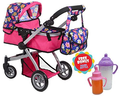 Exquisite Buggy Deluxe Doll Pram Stroller Swiveling Wheels & Adjustable Handle A Free Carriage Bag 2 Free Magic Bottles Included (Flower)