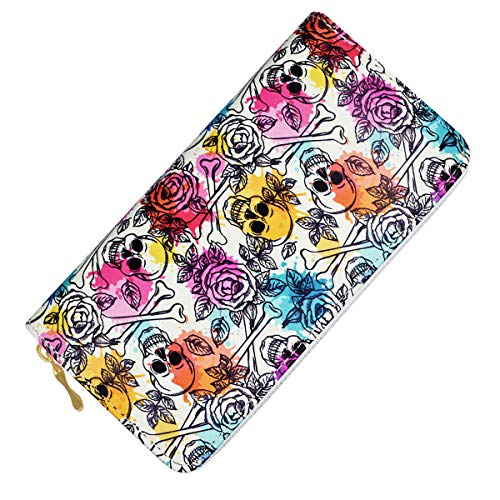 (Punk Sugar Skull Wallet Womens Unisex RFID Blocking Leather Wallet Holder Clutch Case for Cards Smartphone (White))