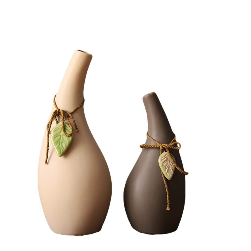 花瓶日本の禅ホームハンドシミュレーション桜梅の装飾的な装飾品ペンダントセラミック花瓶組み合わせセット(2セット) LQX B07RL9LPN3