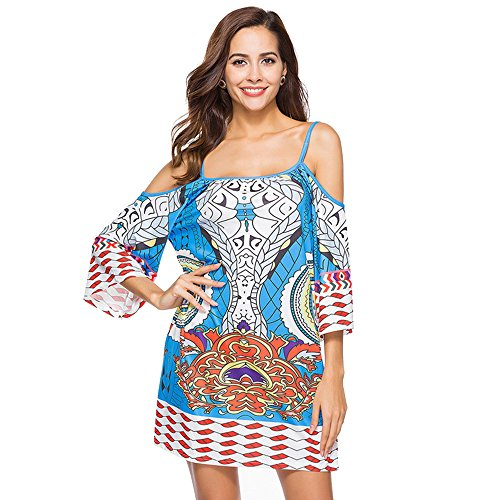 Youthny Femme Robe Epaule Dnude Ete Africaine Imprime Fleur Plage Chic # 3