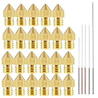 uxcell 0.2mm 3D Printer Nozzles Head M6 Thread Replacement for MK8 1.75mm Extruder Print Brass 5pcs
