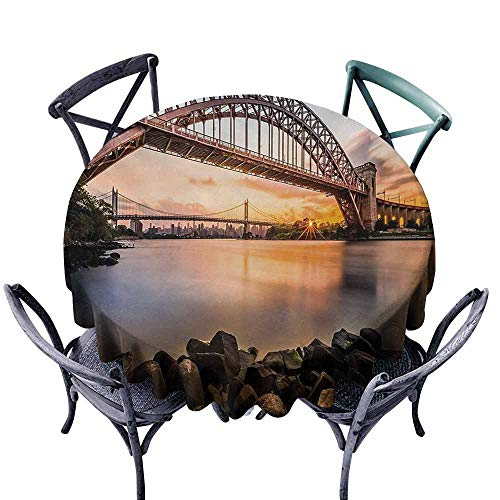 VIVIDX Tablecloth for Kids/Childrens,Landscape,Sunset Evening View Picture Hell Gate and Triboro Bridge Astoria Queens America,for Banquet Decoration Dining Table Cover,47 INCH,Brown Blue
