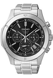 Seiko Chronograph Black Dial Stainless Steel Mens Watch SSB105