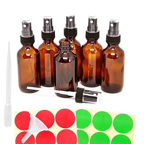 f20dd53f7508 6pack 30ml 1oz Empty Amber Glass Spray Bottles, Refillable Containers for  Essential Oil, Perfume Liquids, Aromatherapy, with Black Fine Mist Sprayer,  ...