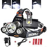 KAZOKU Bright Headlight Headlamp Flashlight Torch 3 CREE XM-L2 T6 LED with 4 PCS Rechargeable Batteries and Wall Charger …