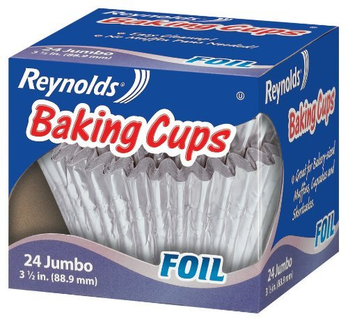 Reynolds Baking Cups, Foil, Jumbo, 3 1/2 In, 24 Count (Pack of 6)