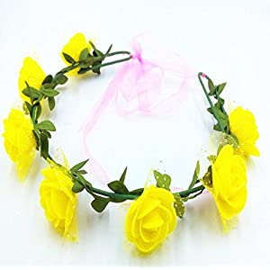 YChoice Unique Party Decorations Artificial Floral Garland Handmade Rose Flower Headband with Ribbon_Yellow 88