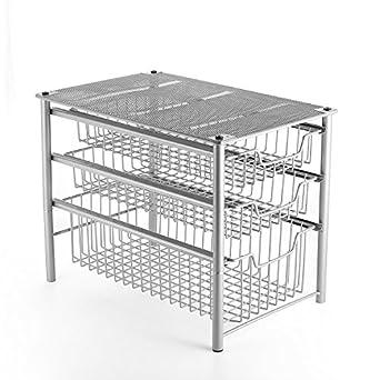 Excellent 3S Stackable 3 Tier Sliding Cabinet Storage Basket Organizer Drawer Under Bathroom Kitchen Sink Organizer Silver Download Free Architecture Designs Grimeyleaguecom