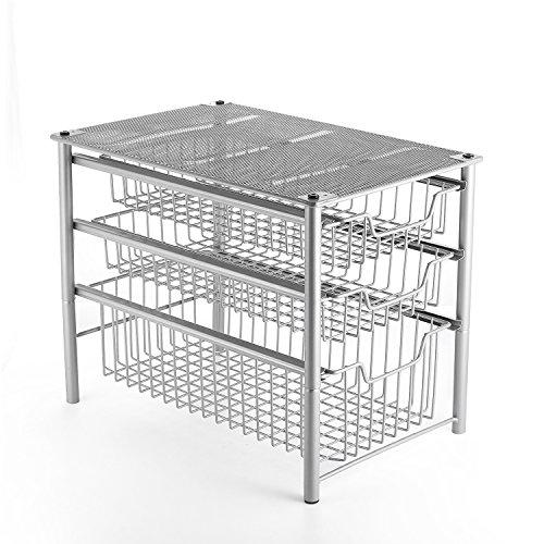 (3S Stackable 3 Tier Sliding Cabinet Storage Basket Organizer Drawer, Under Bathroom Kitchen Sink Organizer, Silver)