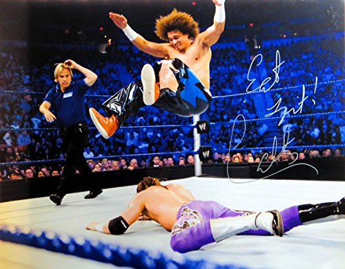 Carly Colon Signed Autographed 16X20 Photo WWE WWF In Air During Match COA (Signature Legend Air)