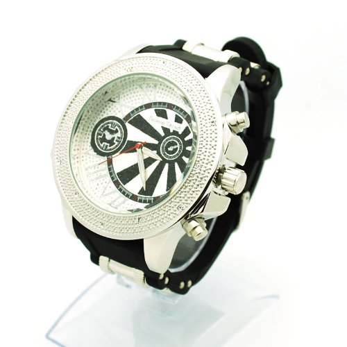 Mens Iced Out Hip Hop Baller Bullet Band Silicone Analog Wristwatch Silver Black