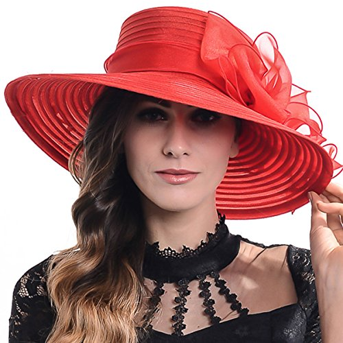 FORBUSITE Lady Shiny Organza Striped Church Wedding Wide Brim Hat S062-XDUS-9 (Red)