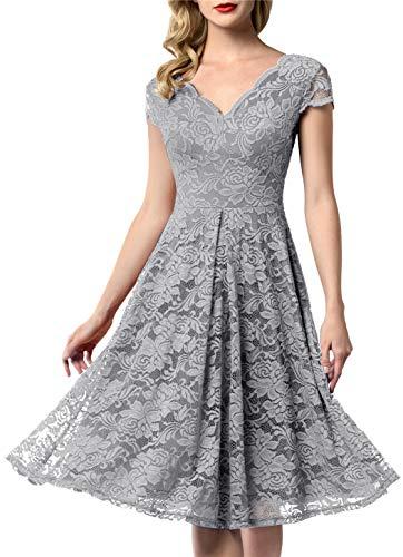 AONOUR 0052 Women's Vintage Floral Lace Bridesmaid Dress Wedding Party Midi Dress Cap Grey S