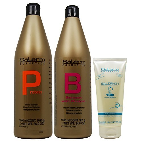 Balsam Hair Conditioner (Salerm Protein Shampoo 1000ml + Balsam Conditioner 1000ml + 21 Leave in Conditioner 200ml (Combo Set))