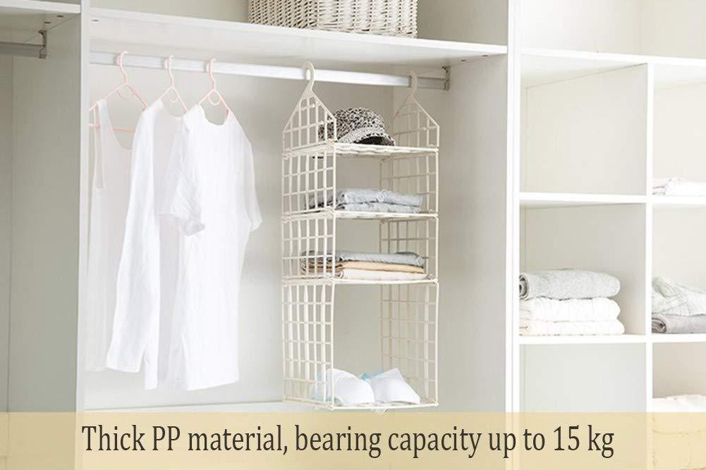 Beige NIUJF Scaffale Pensile per Armadio in Plastica PP Carico Pesante 30 * 30 * 70 Cm Pieghevole con Scomparto Multistrato Organizer per Abiti