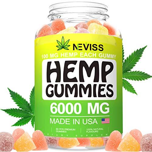 Vegan Hémp Oil Gummies for Pain, Anxiety, Stress & Inflammation Relief, Sleep, Relaxation, Calm & Mood Support, Hémp Extract Gummies 6000 MG - Natural Organic Premium Hémp Gummies Made in USA
