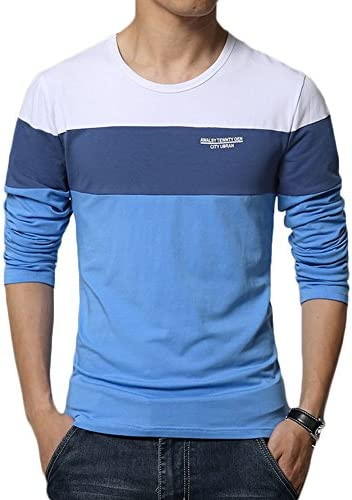 8sanlione Mens Casual Cotton Fitted Short-Sleeve/Long Sleeve Contrast Color T-Shirt