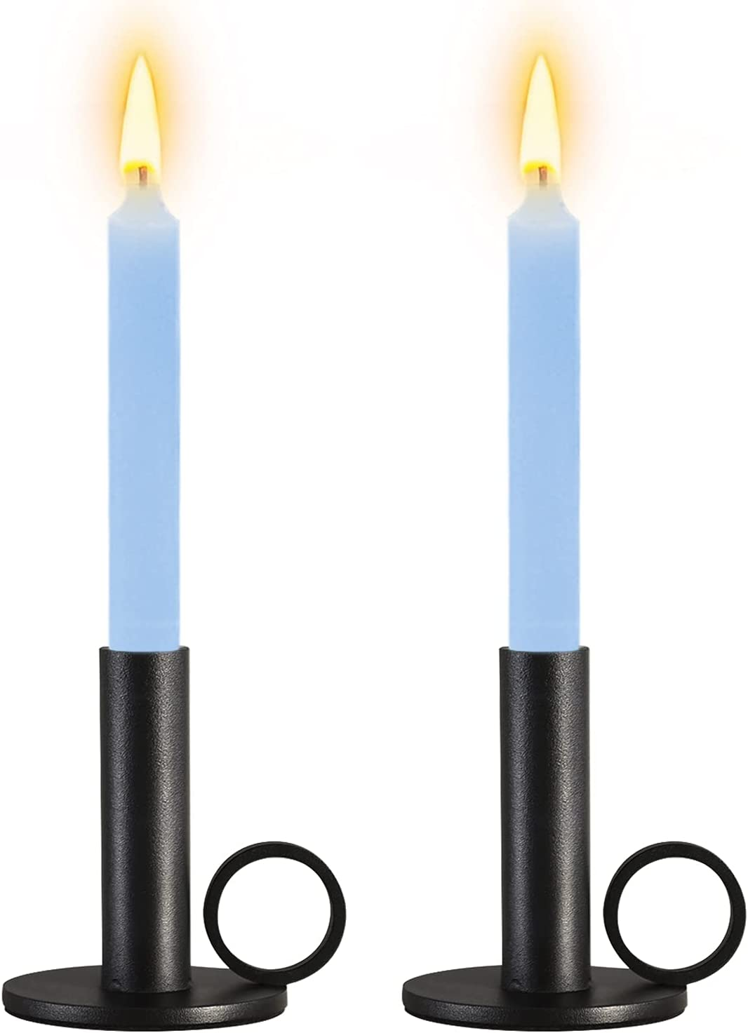 Candlestick Holders, Set of 2 Matte Black Candle Holders Set, Decorative Metal Candle Stands for Taper Candles, Fits 3/4 inch Thick Candle & Led Candles, Ideal Home Decor for Wedding, Dinning, Party