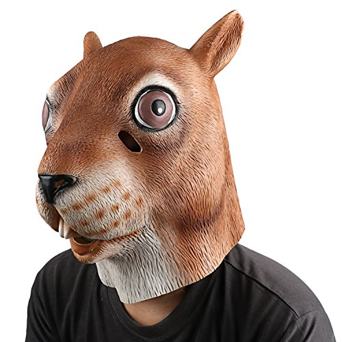 Supmaker Deluxe Novelty Halloween Costume Party Latex Animal Head Mask Squirrel head (Zombie Squirrel)