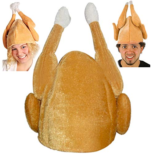 Coxeer Thanksgiving Turkey Hat, Plush Hat Novelty Christmas Turkey Hat Adults Women Men Thanksgiving Gift Funny Party Hat