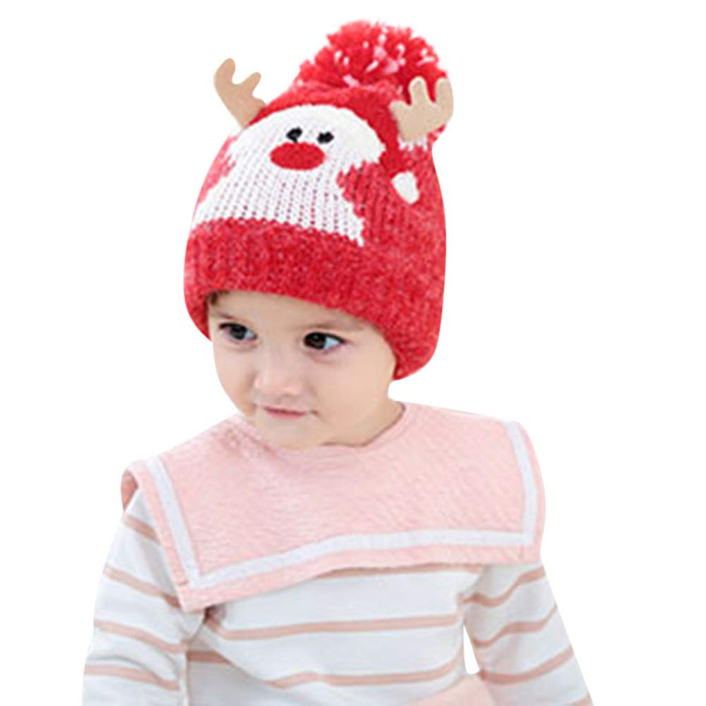 Moonuy Baby Warm Christmas Hats Baby Kids Beanie for Boys Girls Cap Cotton Knitted Hats Ball Warm Christmas Hats Children Cartoon Snowman Ball Knit Warm hat for 6-24 Months