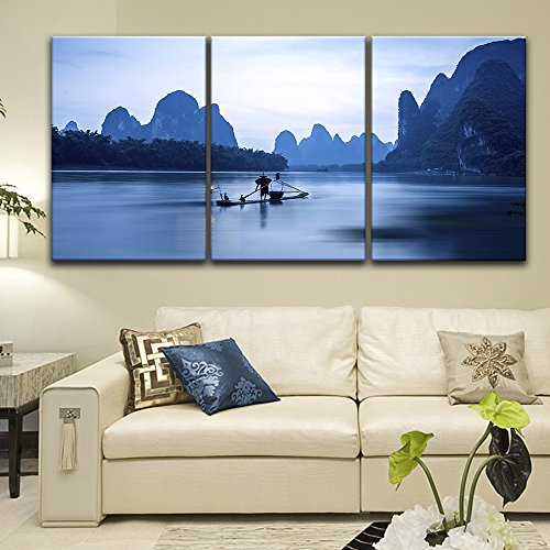 3 Panel Fisherman and Boat on Calm River Among Mountains in The Evening x 3 Panels