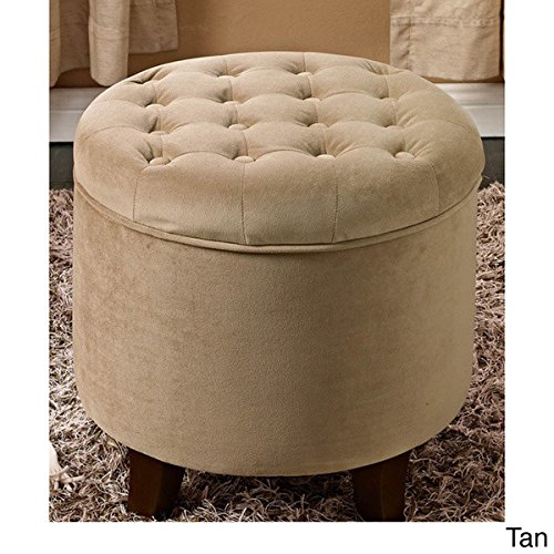 Large Storage Capacity Round Shape Storage Ottoman, Tan Color
