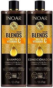 Kit Inoar Shampoo + Condicionador 1L Blends Vitamina C