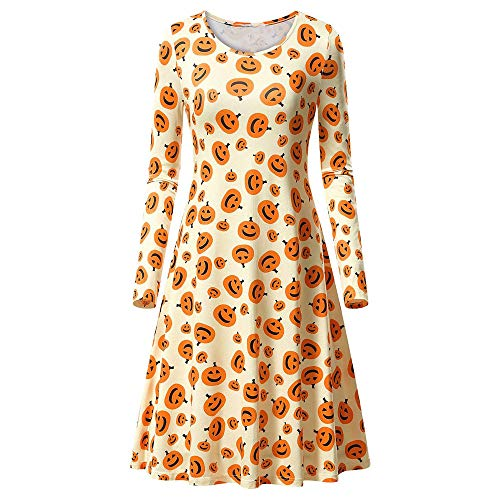GOVOW Swing Dresses for Women Long Sleeve Pumpkins Print Halloween Evening Prom Costume(US:12/CN:XXL,Yellow ) ()
