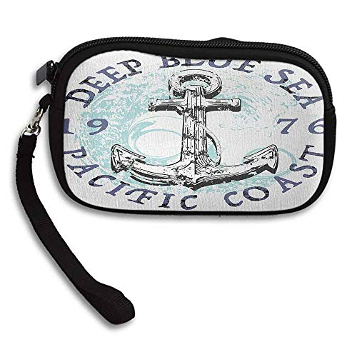 "Anchor Clutch Purse Cell Phone Deep Blue Sea Pacific Coast Vintage Emblem from 1976 Grungy Display W 5.9""x L 3.7"" Pouch Wallet Gift wrapped"