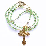 Rana Jabero Gold Peridot (August Birthstone) Swarovski Crystal and Glass Pearl Rosary