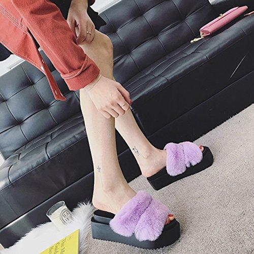 Lila Boden Schuh 4 Dicker CN37 Mode 4 Sommer Kuchen Modeschuhe Hausschuhe UK4 Wedgies 235 Schwarz Unterseite größe 5 Weiblich LIXIONG EU37 Farbe Kiefer Farben xvgYx0w