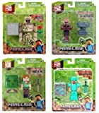 Set of 4 Jazwares Minecraft Figures - Iron Golem, Blacksmith, Alex & Diamond Steve