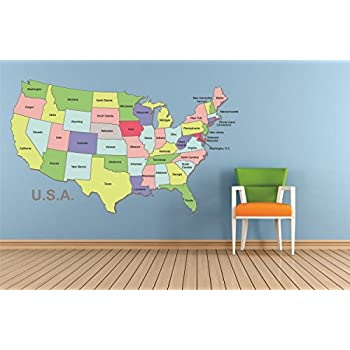 USA United States Map Repositional And Removable Wall Decal - Classroom size map of us