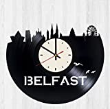 Skyline Belfast Vinyl Wall Clock Northern Ireland Unique Gifts Living Room Home Decor