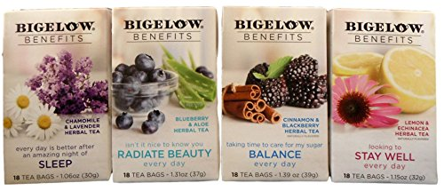 Bigelow Benefits Super Every Day Tea Bundle - 4 Boxes of Herbal Tea