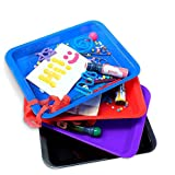 Set of 4 Kids Activity Plastic Tray - Art + Crafts Organizer Tray, Serving Tray, Great for Crafts, Beads, orbeez Water Beads, Painting and Montessori Work (Set of 4 - Red Blue Purple Black)