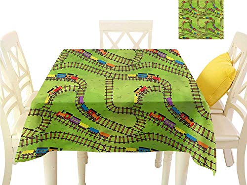 Davishouse Decorative Textured Fabric Tablecloth Play Things Wagons on Road Great for Buffet Table W50 x L50