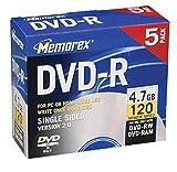 Memorex 4.7GB DVD-R Media (5-Pack)