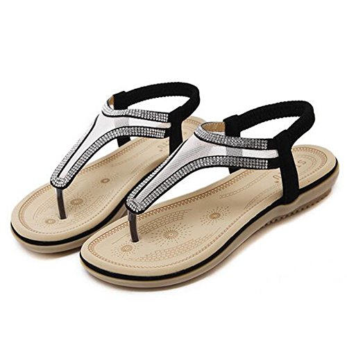 Hattie Women's Mesh Diamond Ankle Strap Sandals Summer Clip Toe Flats Black GKEnaryQM6